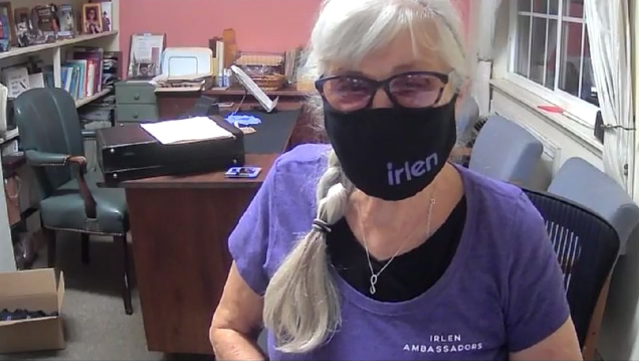 Susan with her Irlen face mask